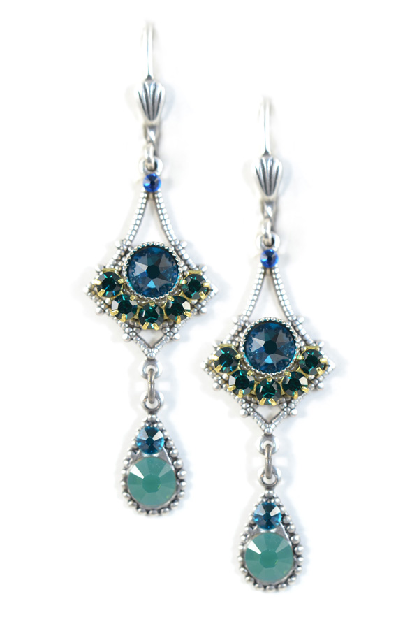 Clara Beau Elegant 2 Tier Silver Blue Green Emerald Swarovski Crystal Mosaic Earrings Eg273