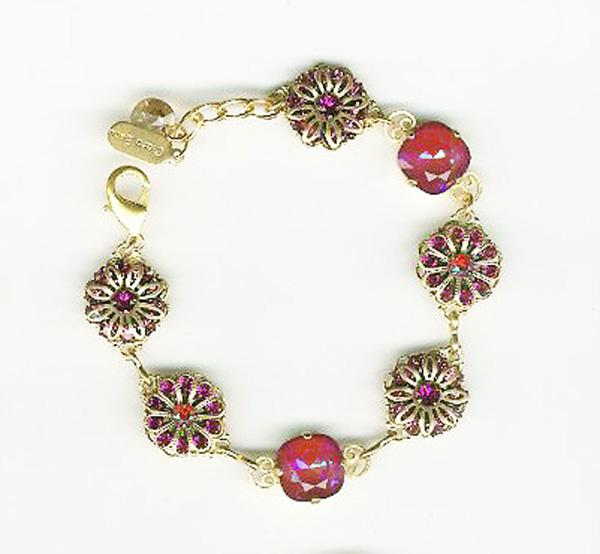Royal Gold Filigree Swarovski Ultra Ruby crystal BrceletClara Beau