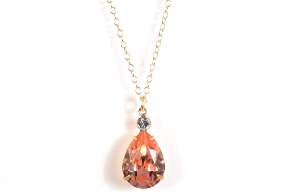 Lovely Tear Drop Swarovski Crystal Accented Necklaceclara