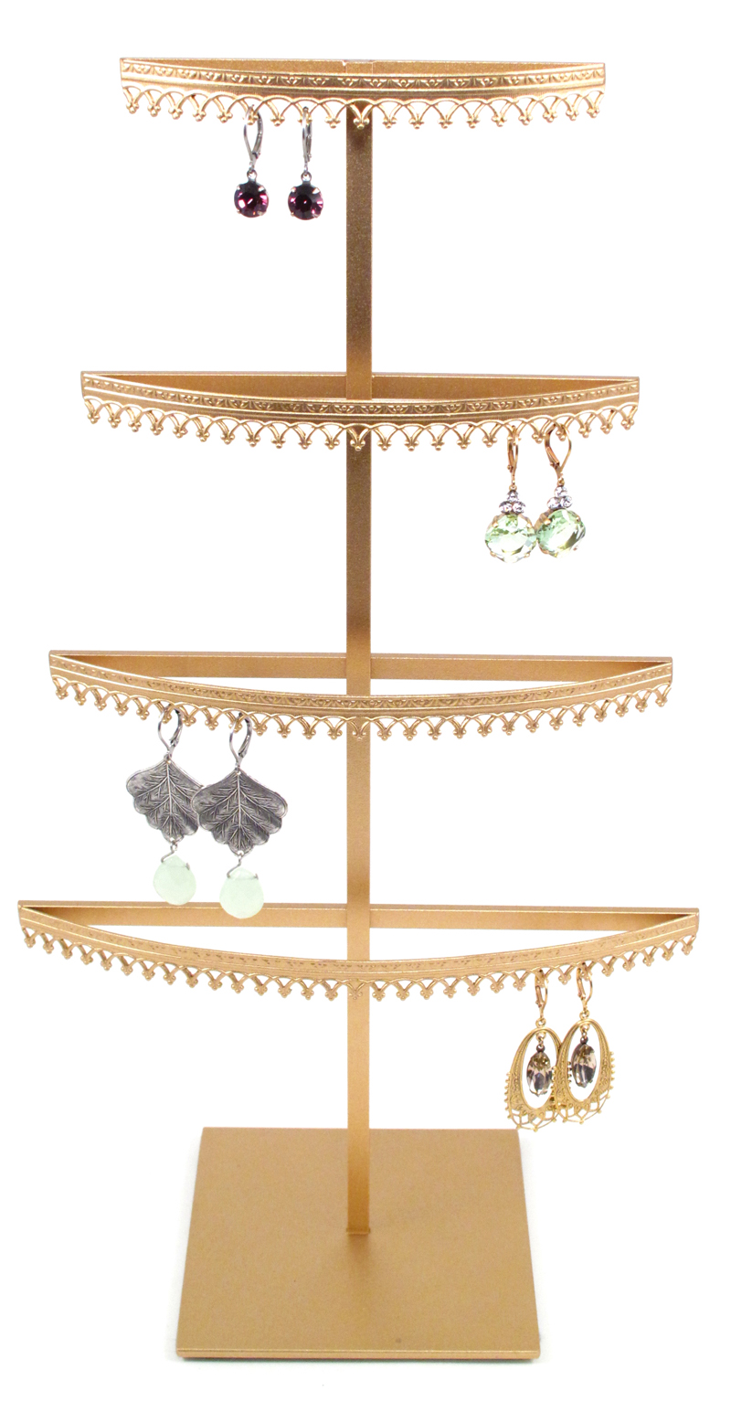 Stand#3 - Four tier earring display stand, Crown molding.