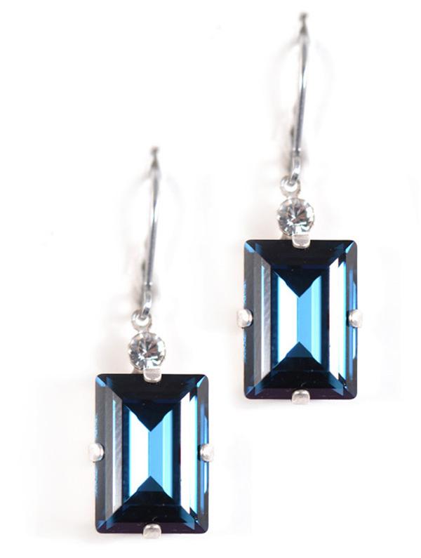 Large Elegant Rectangle Swarovski Earrings Clara Beau Jewelry
