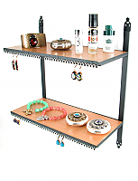 Stand#100 Wall mount double shelves and earring display combination.