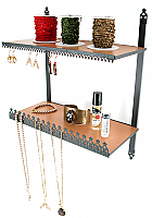Stand#101 Wall mount double shelves with necklace and earring display combination.